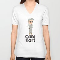 karl V-neck T-shirts featuring cool karl by sofiefatale