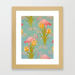 Papier peint - Isidore Leroy - 1905 Flamingo Pond Floral Pastel Pattern Framed Art Print