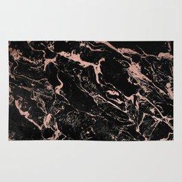 Modern girly faux rose gold foil black marble Rug