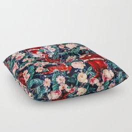 Santa Claus and Floral Pattern Floor Pillow