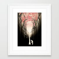 city Framed Art Prints featuring Revenge of the nature II: growing red forest above the city. by Rafapasta