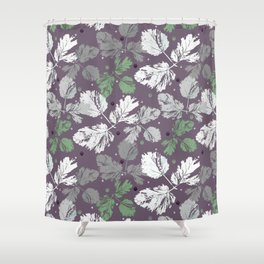 Sprigs and polka dots on a purple background Shower Curtain