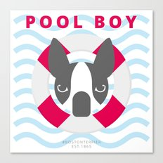Boston Terrier: Pool boy. Canvas Print