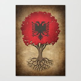 Vintage Tree of Life with Flag of Albania Canvas Print