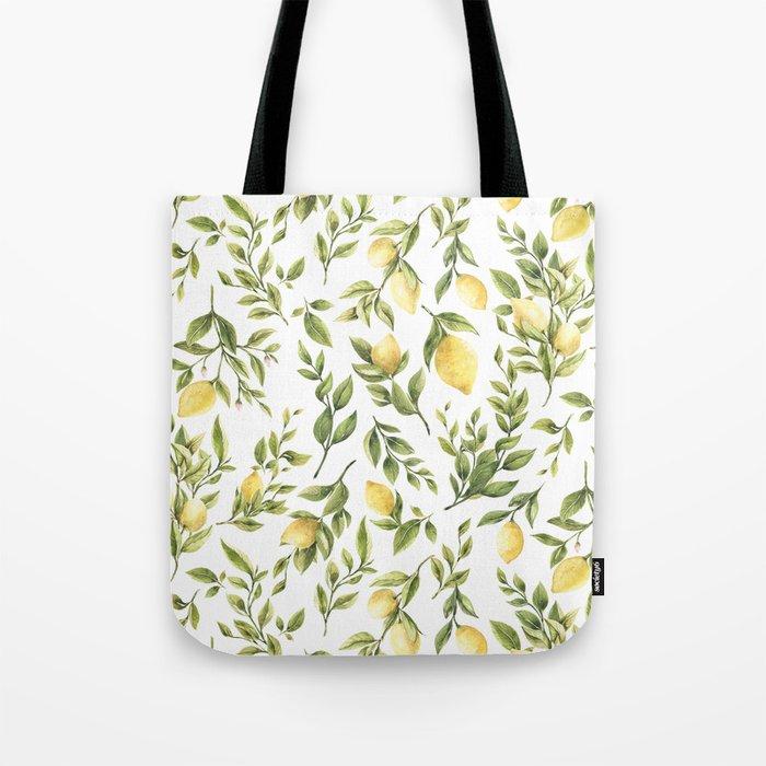 Bright Yellow Watercolor Lemons and Leaves Tote Bag