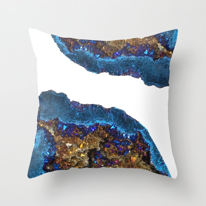Agate metallic blue & gold Throw Pillow by galeswitzer | Society6