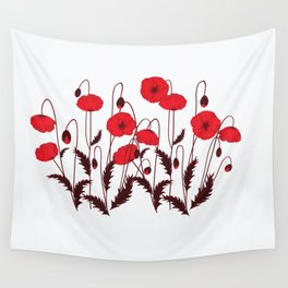 Bright floral pattern on a white background with decorative elements. Wall Tapestry