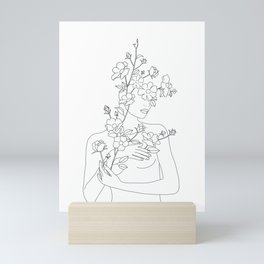 Minimal Line Art Woman with Wild Roses Mini Art Print