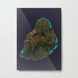 Mauritius Satellite Map Metal Print