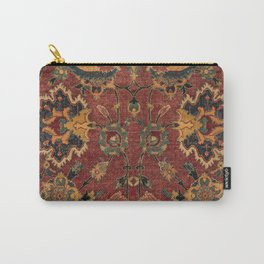 Flowery Boho Rug III // 17th Century Distressed Colorful Red Navy Blue Burlap Tan Ornate Accent Patt Carry-All Pouch