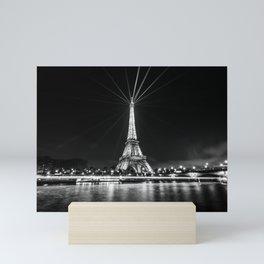The Eiffel Tower and the Seine B&W Mini Art Print