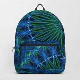 Mandala in neon blue and green tones Backpack