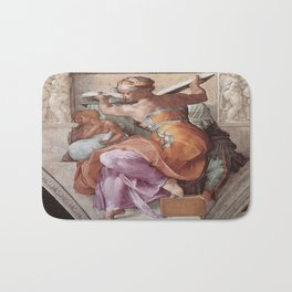 The Libyan Sybil Sistine Chapel Ceiling by Michelangelo Bath Mat