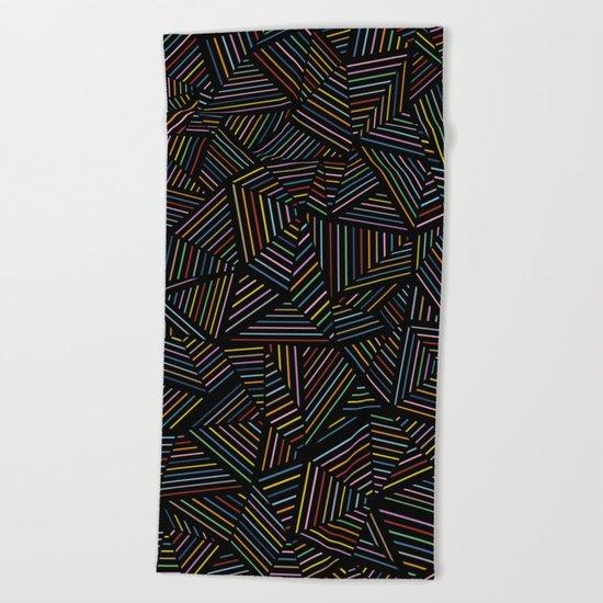 Ab Linear Rainbow Black Beach Towel