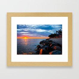 Sunset on Lake Michigan Framed Art Print