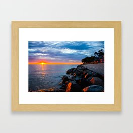 Sunset on Lake Michigan Framed Art Print