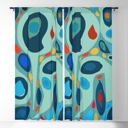 Blue Abstract Pattern sealife Blackout Curtain