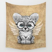 snow leopard Wall Tapestries featuring Snow Leopard Cub Fairy Wearing Glasses  by Jeff Bartels