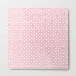 White Pointed Stars on Millennial Pink Pastel Metal Print