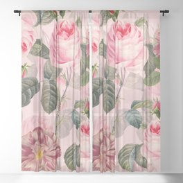 Vintage & Shabby Chic - Summer Roses Garden Sheer Curtain