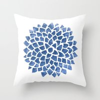 indigo Throw Pillows featuring Indigo by Color and Form