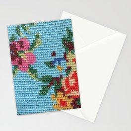 needlepoint flowers & cat Stationery Cards