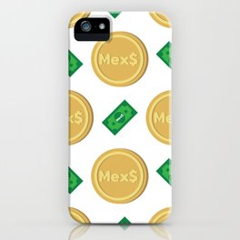 Mexico's Mexican peso Mex$ code MXN banknote and coin pattern wallpaper iPhone Case