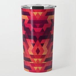Abstract red geometric triangle texture pattern design (Digital Futrure - Hipster / Fashion) Travel Mug