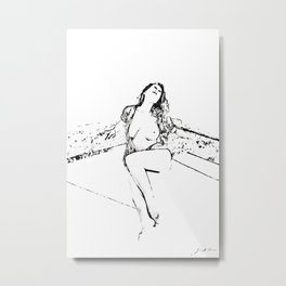 Naked girl sitting on the terrace by the sea Metal Print