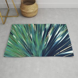 Spectacular Succulent Spikes in Exotic Blues and Greens Rug