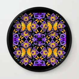 BLACK-GOLD-PURPLE BUTTERFLIES PANSY KALEIDOSCOPE Wall Clock