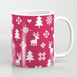 PIXEL PATTERN - WINTER FOREST RED Coffee Mug