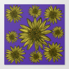 Contrasting Daisy Pop Yellow Daisies on Purple Canvas Print