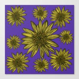 Contrasting Daisy Pop Yellow Daisies on Purple Canvas Print