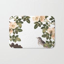Blackberry Spring Garden - Birds and Bees Cream Flowers Bath Mat