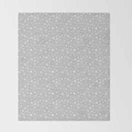 Silver & White Christmas Snowflakes Throw Blanket