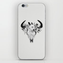 Monochrome Floral bohemian black and white watercolor animal stag head skull boho home wall decor iPhone Skin