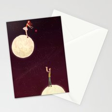 2 moons, a girl and a boy! Stationery Cards