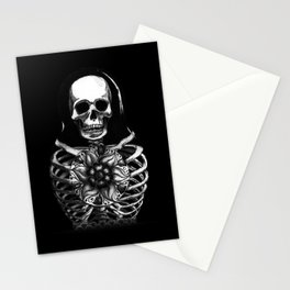 Matryoshka Skelton Doll - black Stationery Cards