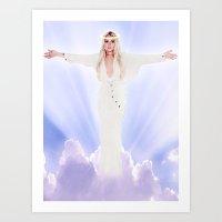 lindsay lohan Art Prints featuring Lindsay Lohan - Jesus Parody by hunnydoll