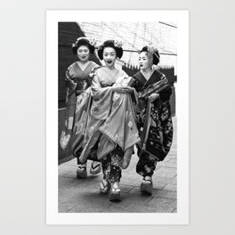 Black & White Geisha Japan (gion 舞妓)  Art Print