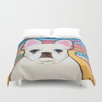 french bulldog Duvet Covers featuring French Bulldog  by Two Dancing Crows