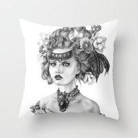 fleur de lis Throw Pillows featuring Fleur De Lis by April Alayne