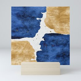 Gold and Navy Blue paint Mini Art Print
