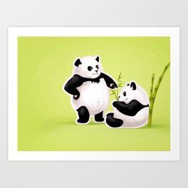 Panda Couple Art Print