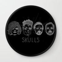 bastille Wall Clocks featuring Bastille Skulls by wellsi