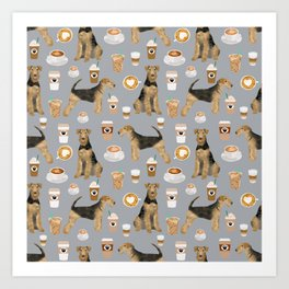 Airedale Terrier coffee pattern dog breed cute custom dog pattern gifts for dog lovers Art Print