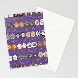 Toe Beans on Purple / Cat Paws Stationery Cards