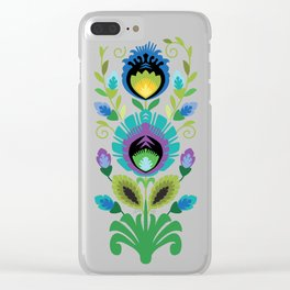 Polish Folk Flowers Teal Clear iPhone Case