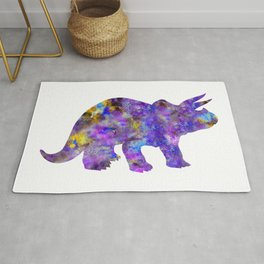 Purple Triceratops Watercolor Painting Rug